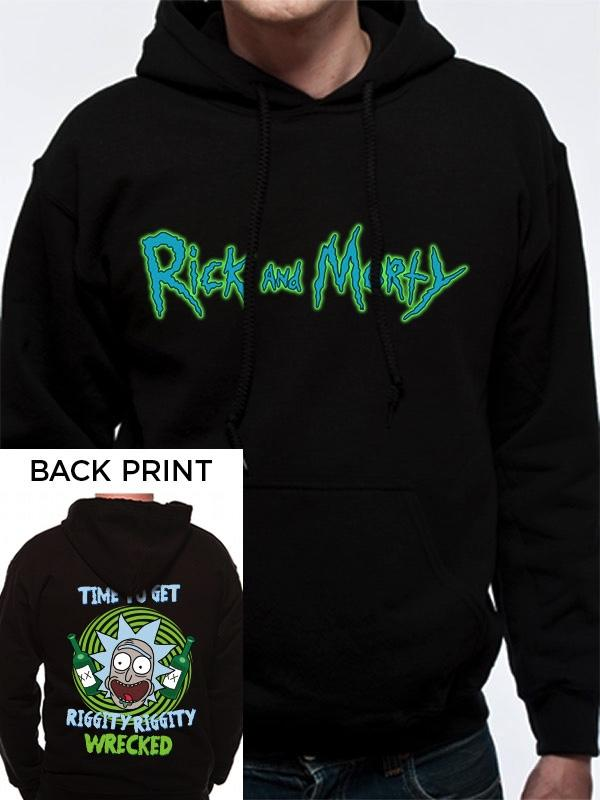 RICK & MORTY - Hooded Sweatshirt Riggity Riggity with Back Print (S)
