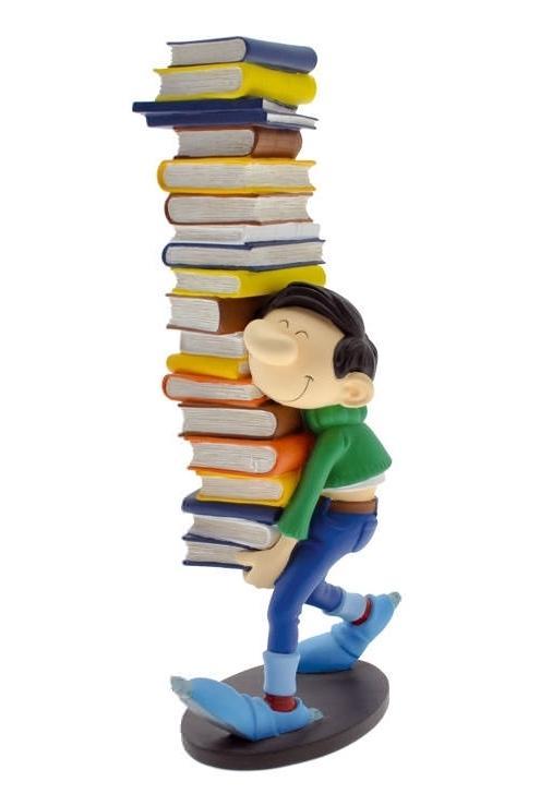 GASTON LAGAFFE - Figurine Resine - Portant une Pile de Livres - 29cm