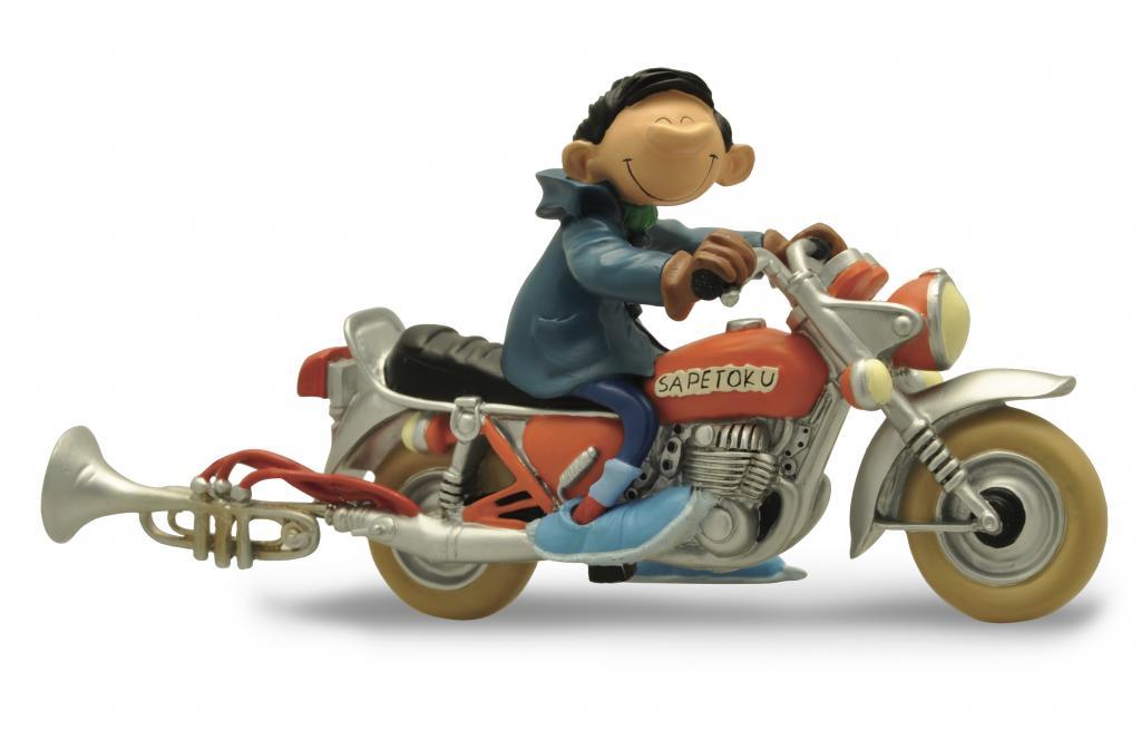 GASTON LAGAFFE - Figurine Resine - Et sa Moto Sapetoku - 16cm