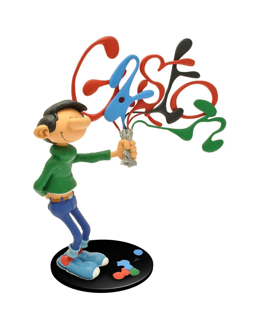 GASTON LAGAFFE - Figurine Resine - Et ses Tubes de Peinture - 29cm