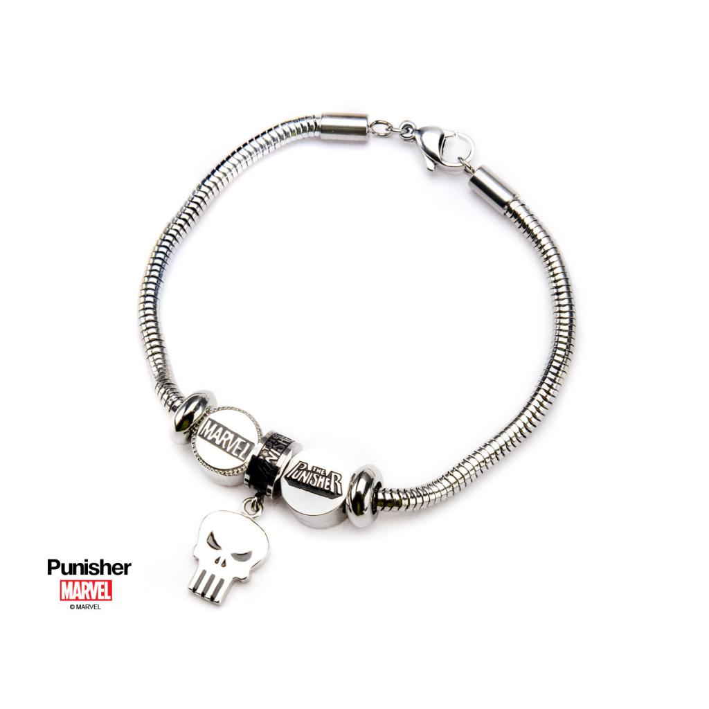 MARVEL - Women's Stainless Steel Punisher Bead Charm Bracelet Set
