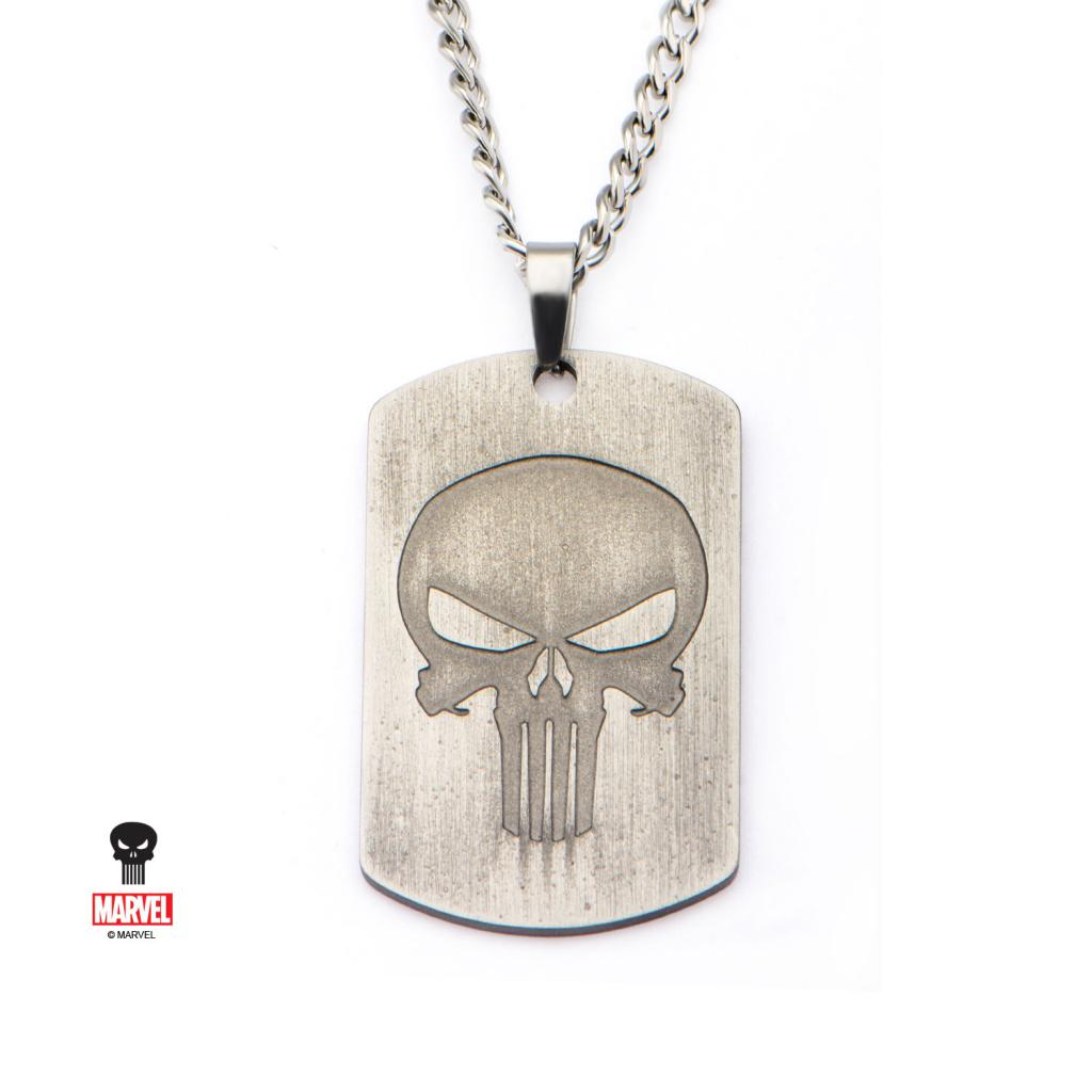 MARVEL - Men's Stainless Steel Antique Punisher Skull Logo Dog Tag