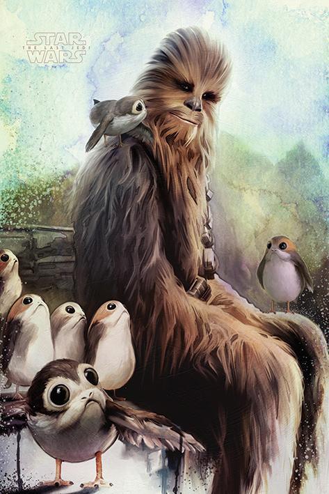 STAR WARS - Poster 61X91 - Chewbacca & Porgs