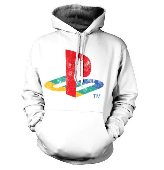 PLAYSTATION - Sweat Distressed Logo Hoodie WHITE (L)