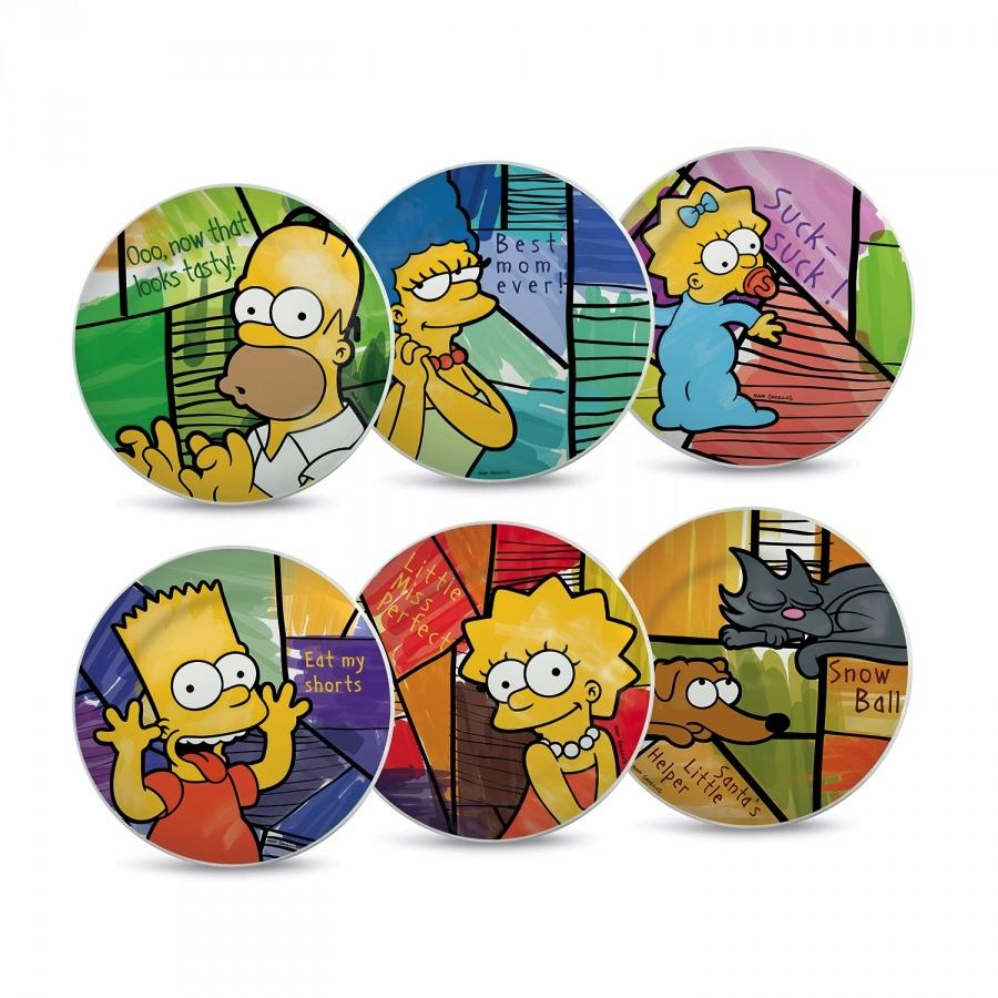 THE SIMPSONS - Set of 6 Dessert Plate 19cm