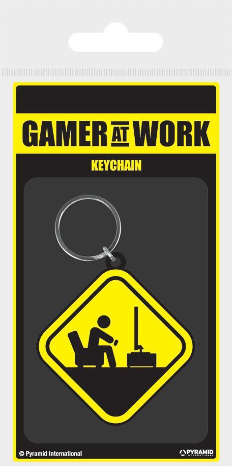 GAMER AT WORK - Porte-Clés Caoutchouc - Caution Sign