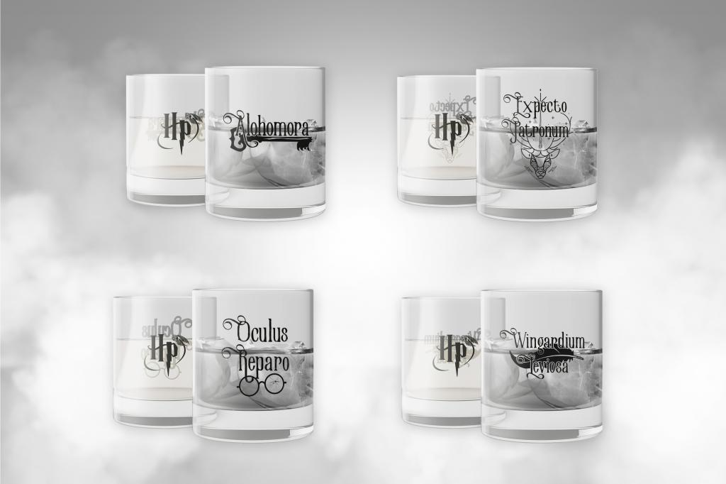 HARRY POTTER - Set 4 Scotch Glass - Charms Edition_1