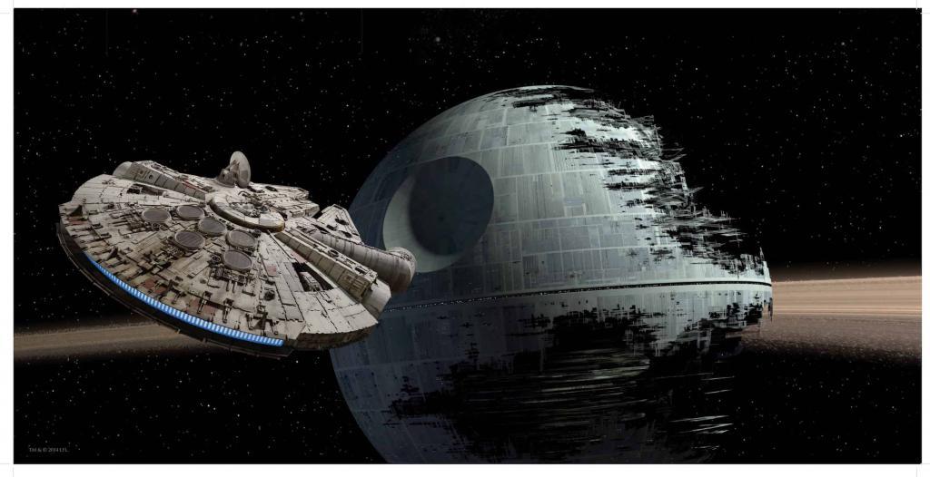 STAR WARS 7 - Poster en Verre - Millenium Vs Death Star - 50X25 cm
