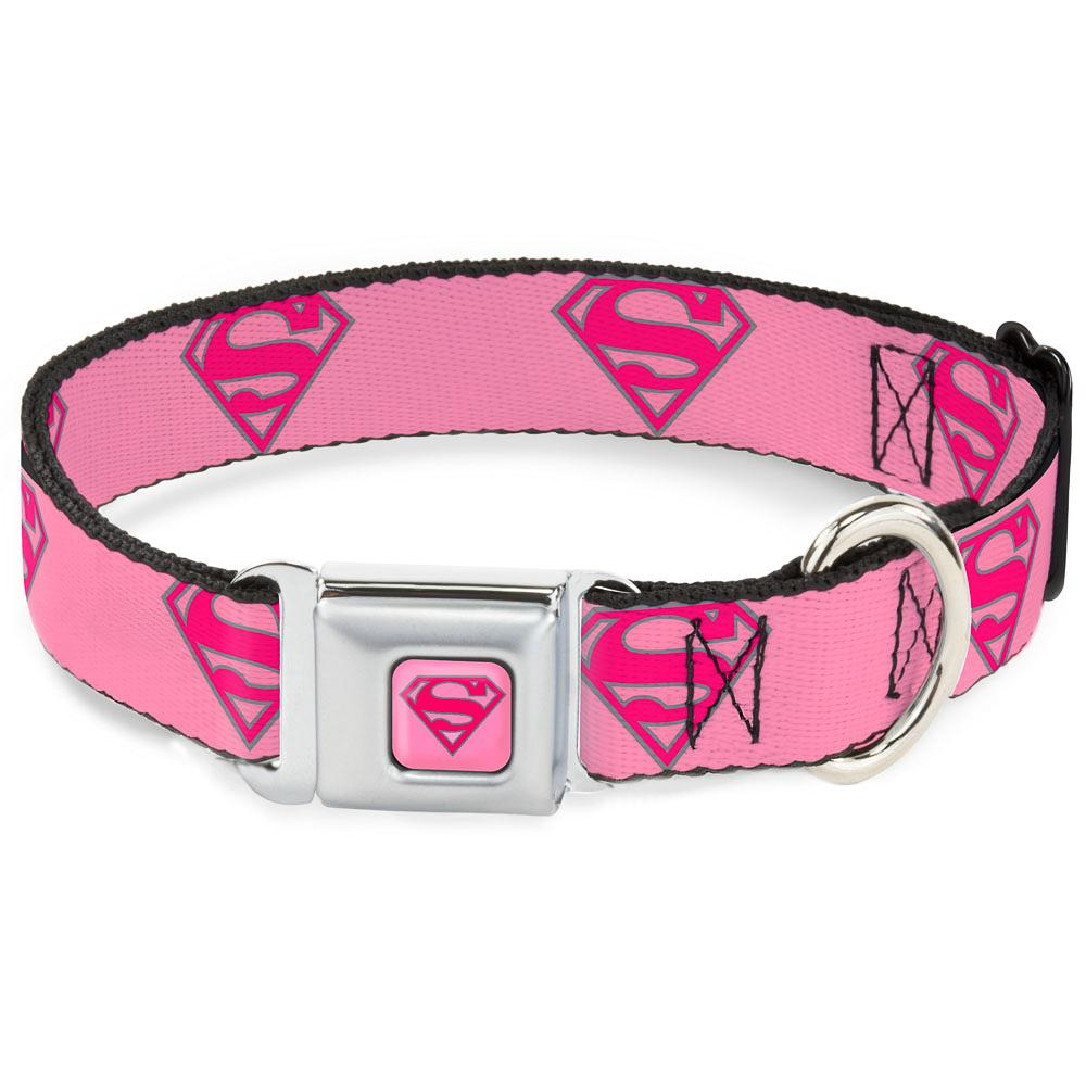 SUPERMAN - Collier pour Chien (S) 22/38 - 2,5 Cm - Pink/Logo_2