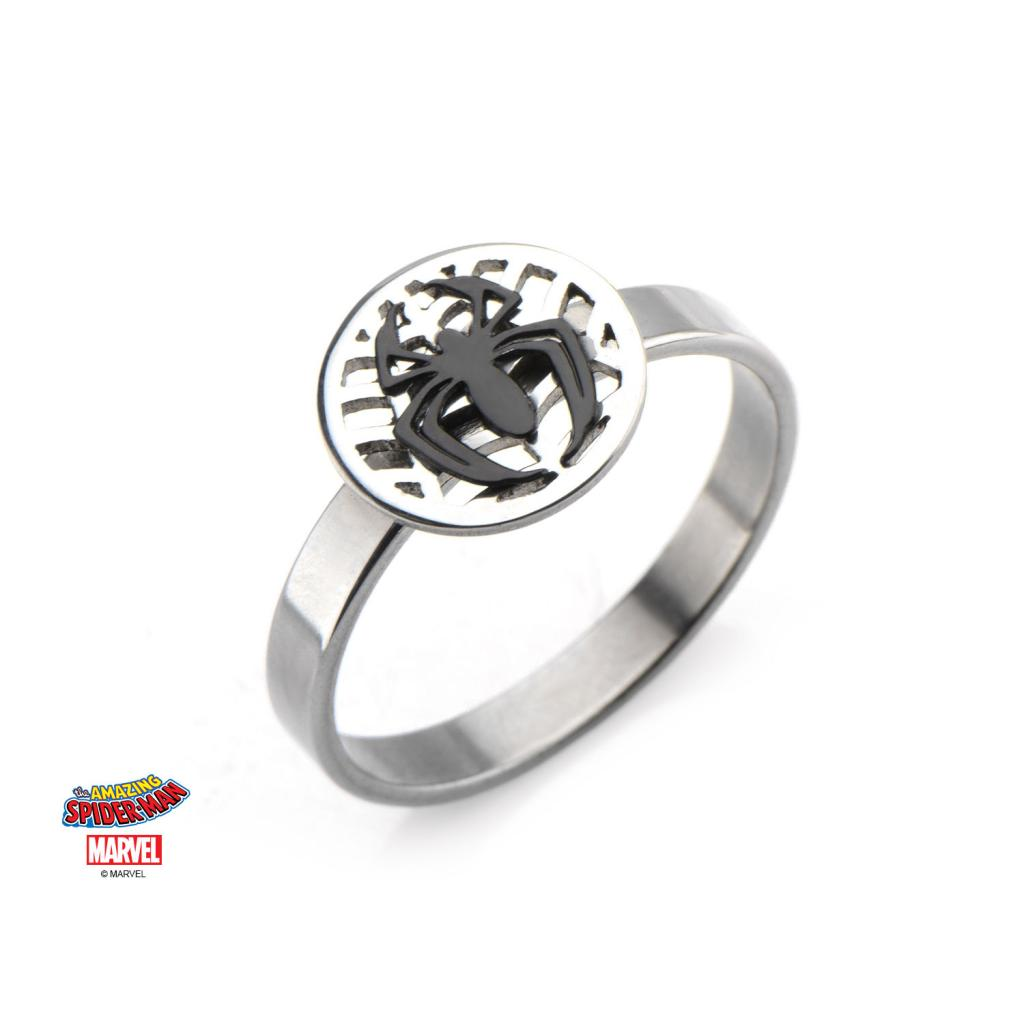 MARVEL - Women's Silver Plated Brass Spider-Man Ring - Size 6