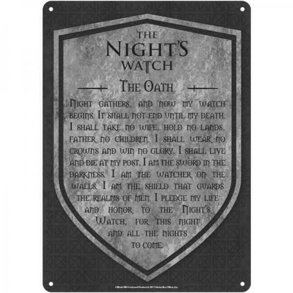 GAME OF THRONES - Plaque Metal 21 X 15 - Night's Watch