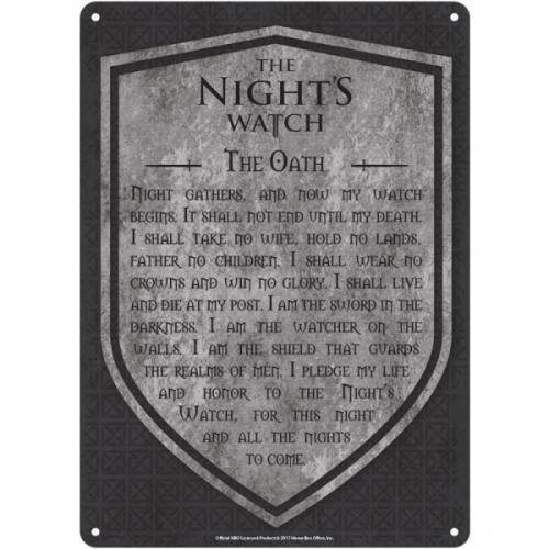 GAME OF THRONES - Plaque Metal 21 X 15 - Night's Watch