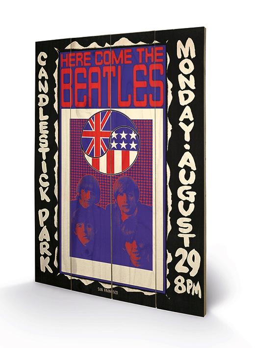THE BEATLES - Impression sur Bois 40X59 - Here Come The Beatles