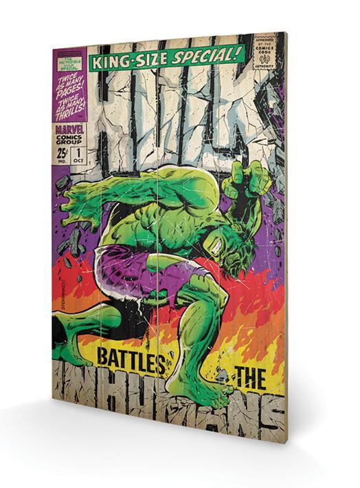 MARVEL - Impression sur Bois 40X59 - Hulk Battle Humans