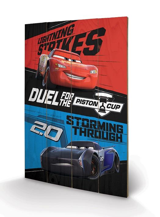 CARS - Impression sur Bois 40X59 - Duel For The Piston Cup