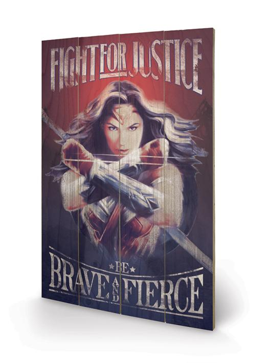WONDER WOMAN - Impression sur Bois 40X59 - Fight For Justice