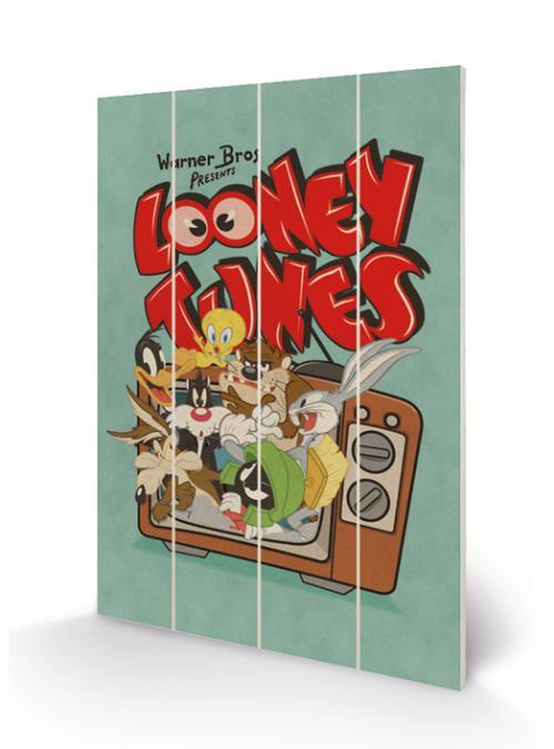 LOONEY TUNES - Impression sur Bois 40X59 - Retro TV