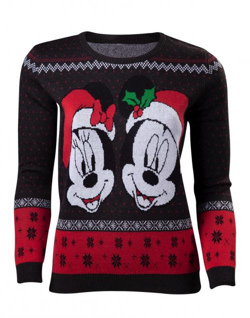 DISNEY - Women's Mickey & Minnie Merry Christmas Sweater (S)
