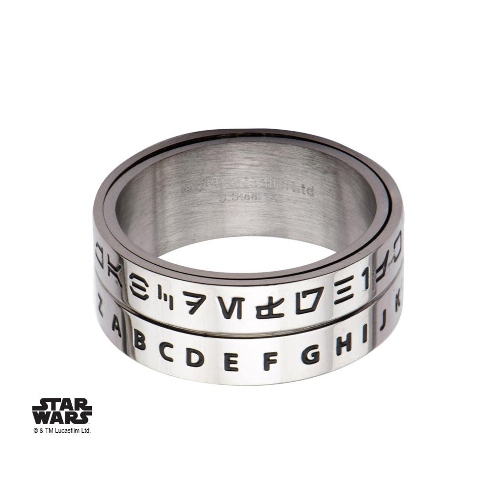 STAR WARS - Men's Stainless Steel Aurebesh Spinner Ring - Size 10