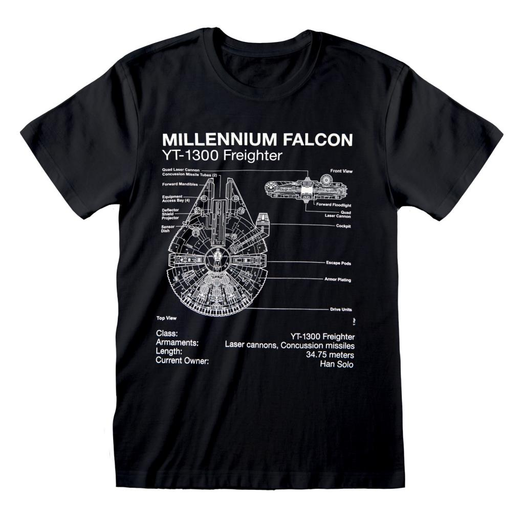 STAR WARS - T-Shirt - Millennium  Falcon Sketch (XXL)