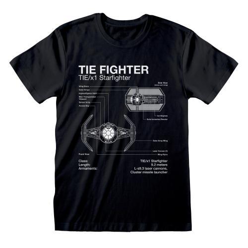 STAR WARS - T-Shirt - Tie Fighter Sketch (XXL)
