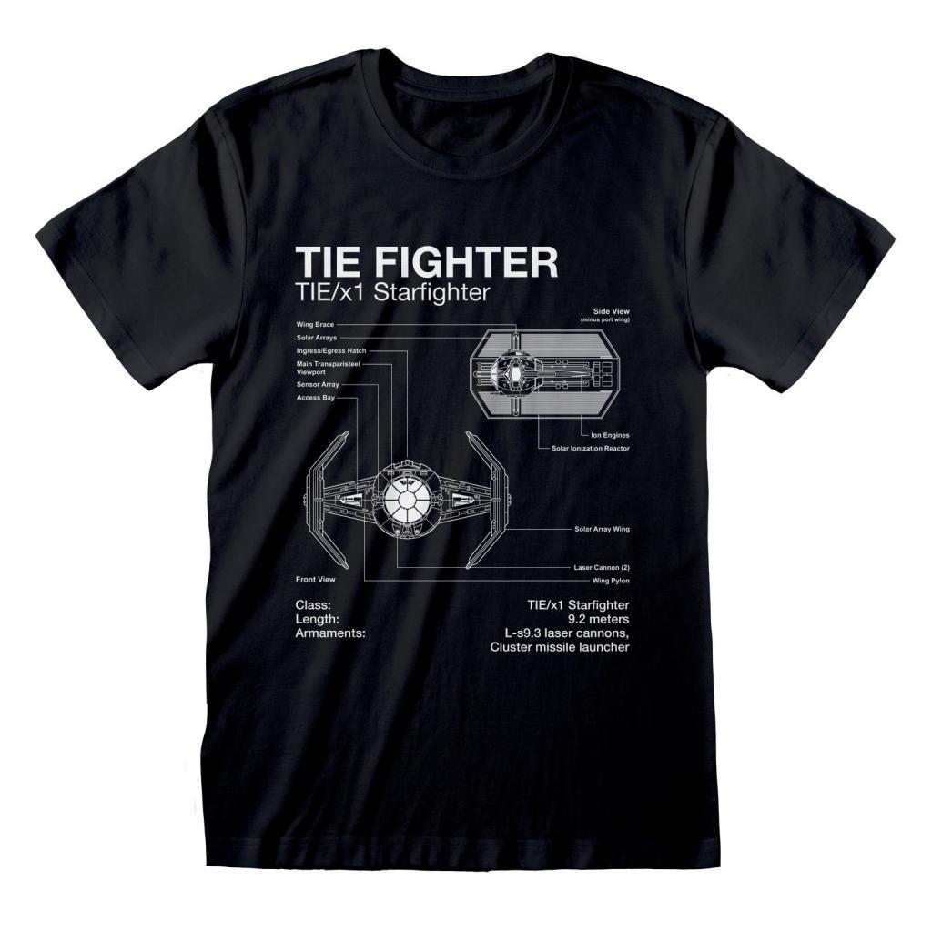 STAR WARS - T-Shirt - Tie Fighter Sketch (L)