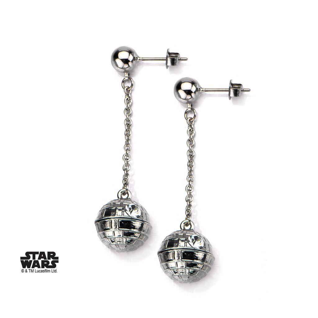 STAR WARS - Stainless Steel 3D Death Star Stud Dangle Earrings