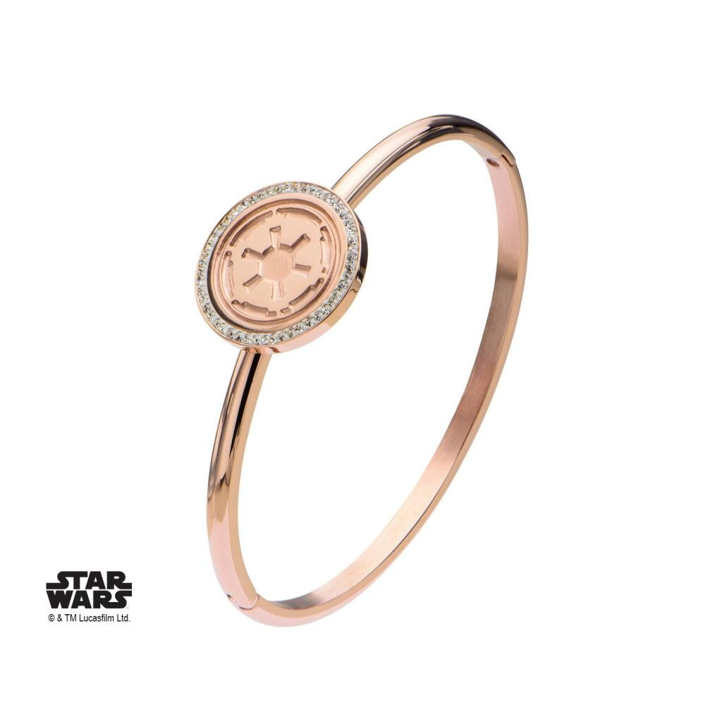 STAR WARS - Rose Gold PVD Plated Empire Symbol with CZ Bangle Bracelet