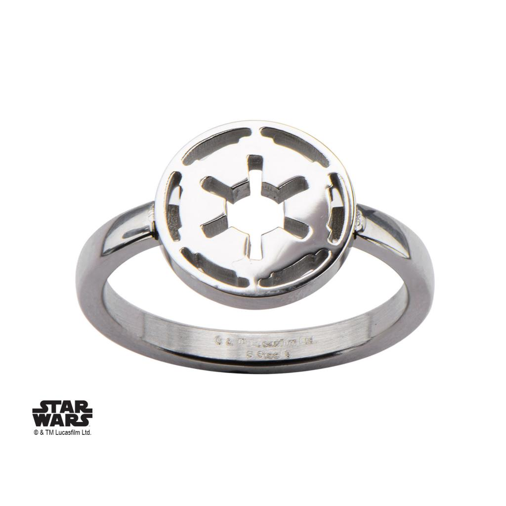 STAR WARS - Women's Stainless Steel Galatic Empire Cut Ring - Size 6