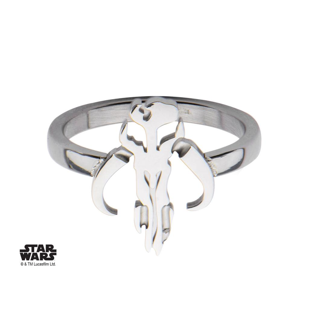 STAR WARS - Women's Stainless Steel Mandalorian Sym Cut Ring - Size 6