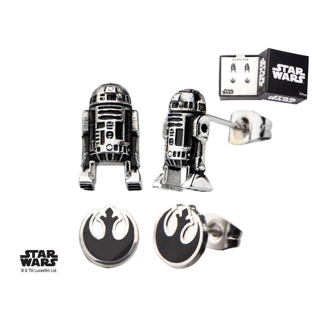 STAR WARS - 3D R2D2 and Rebel Alliance Symbol Stud Earring Set
