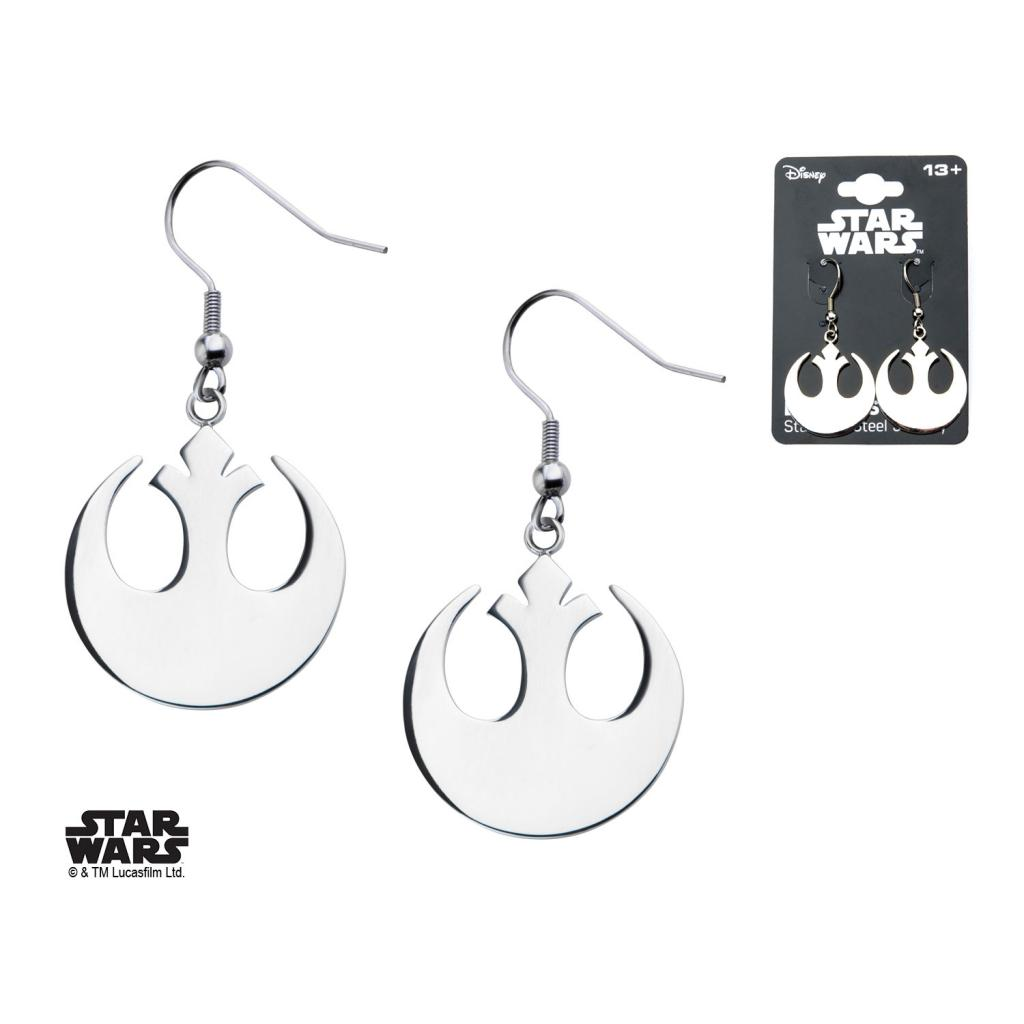 STAR WARS - Women's Stainless Steel Rebel Symbol Hook Dangle Earrings