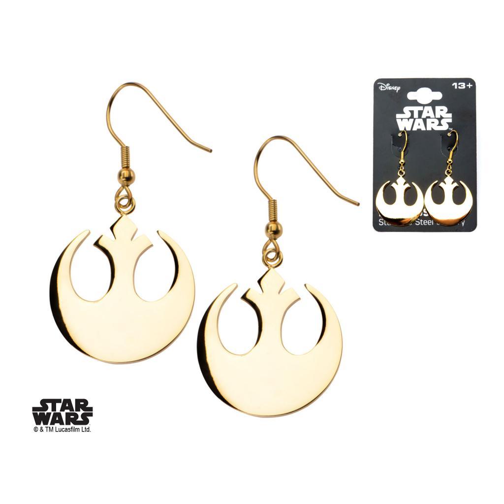 STAR WARS - Stainless Steel Gold PVD Rebel Symbol Hook Dangle Earrings
