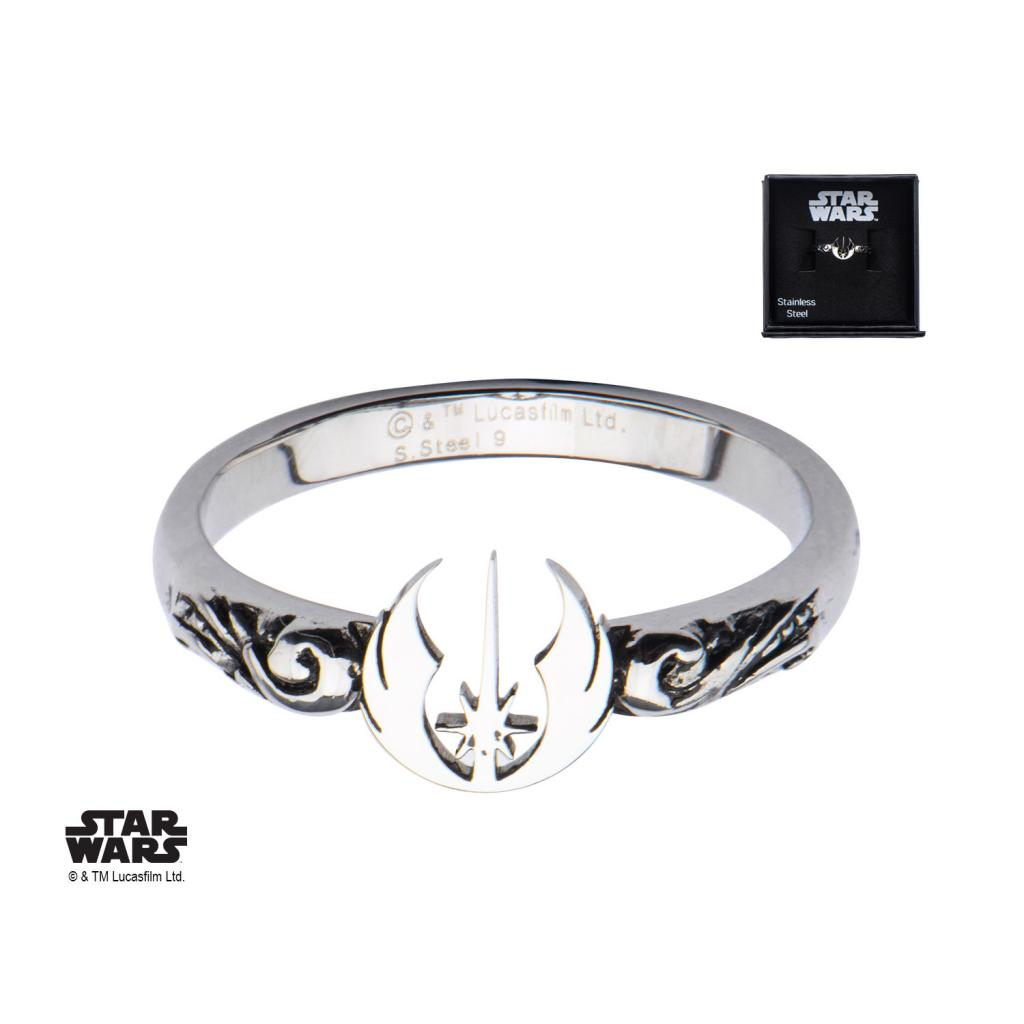 STAR WARS - Women's Stainless Steel Jedi Symbol Cut Ring - Size 6