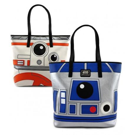 STAR WARS - R2D2 BB8 Sided Big Face Tote Bag 'LoungeFly'