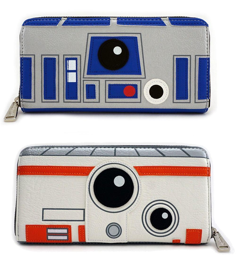 STAR WARS - R2D2 BB8 Sided Big Face Zip Around Wallet 'LoungeFly'