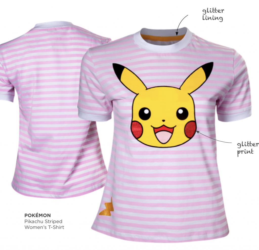 POKEMON - T-Shirt PREMIUM - Pikachu Striped - GIRL (S)