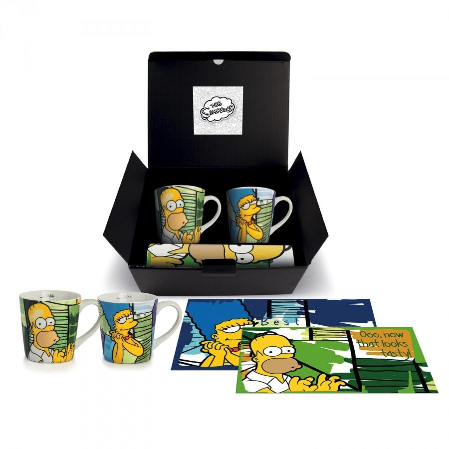 THE SIMPSONS - Gift Box - 2 Jumbo Mug + 2 Set de Table - Homer & Marge