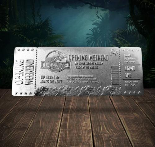 JURASSIC PARK - Opening Weekend - Ticket plaqué argent collector