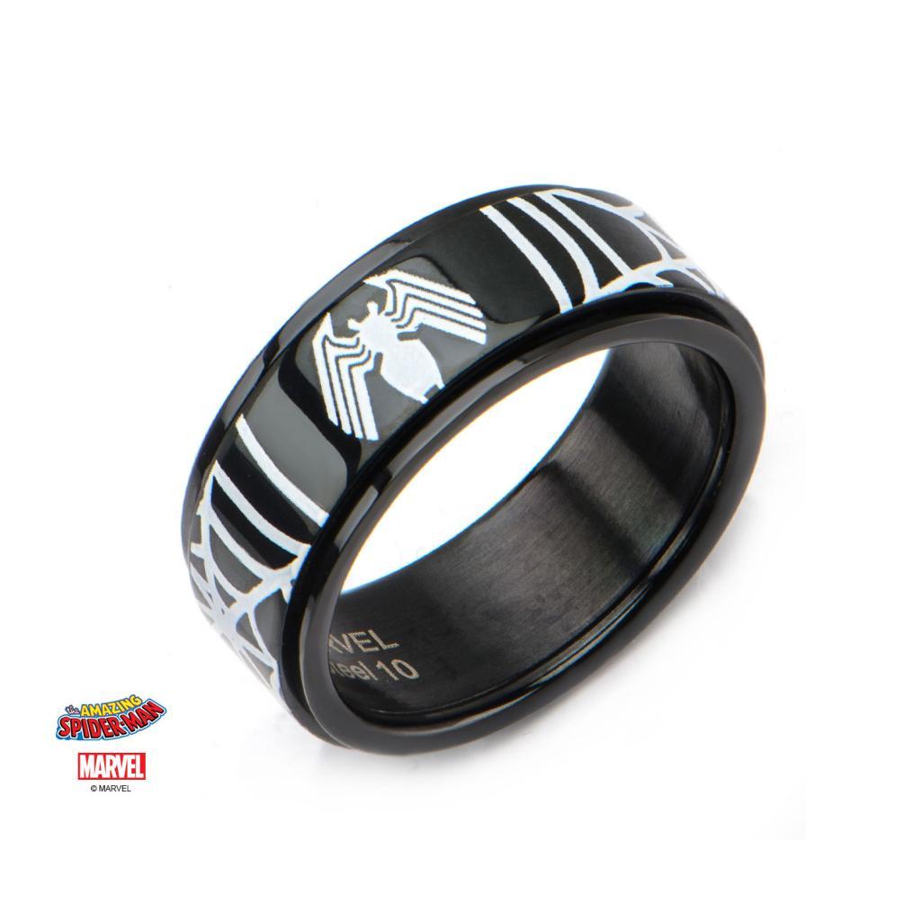 MARVEL - Black PVD Plated Spider-Man Venom Spinner Ring - Size 12