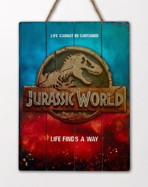 JURASSIC WORLD - Logo - Poster WoodArts 3D en bois '30x40cm'