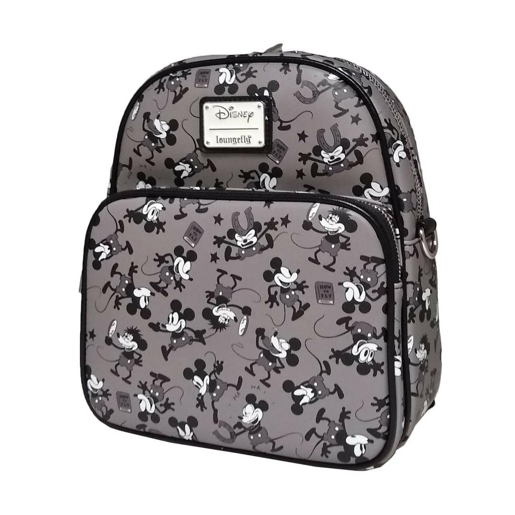 DISNEY - Mickey Mouse Black & White Mini Backpack 'LoungeFly'