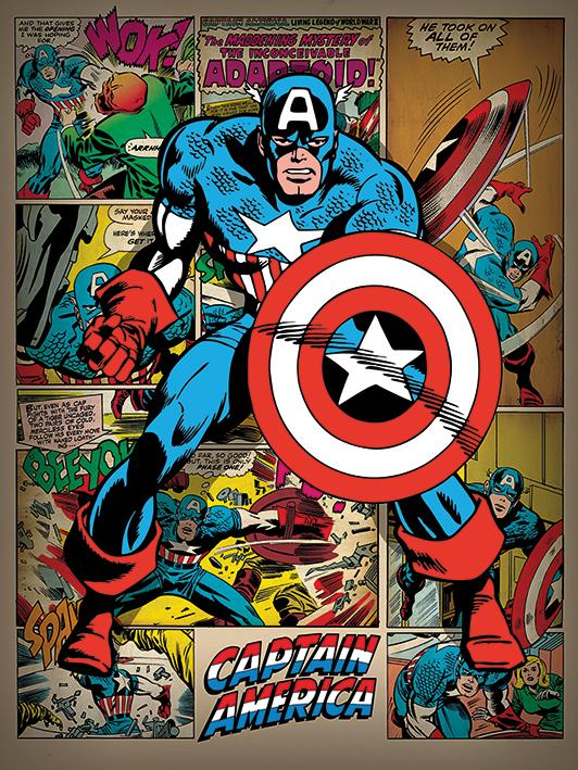 MARVEL - Canvas 60X80 '38mm' - Captain America Retro