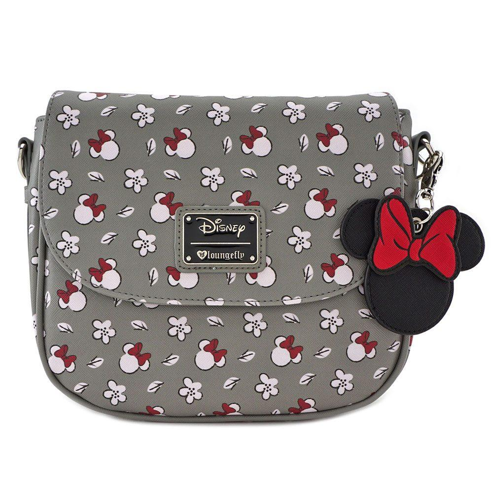 DISNEY - Minnie SM Gray AOP Xbody Bag 'LoungeFly'