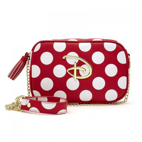 DISNEY - Sac bandoulière Red/White Polka Disney Logo 'LoungeFly'