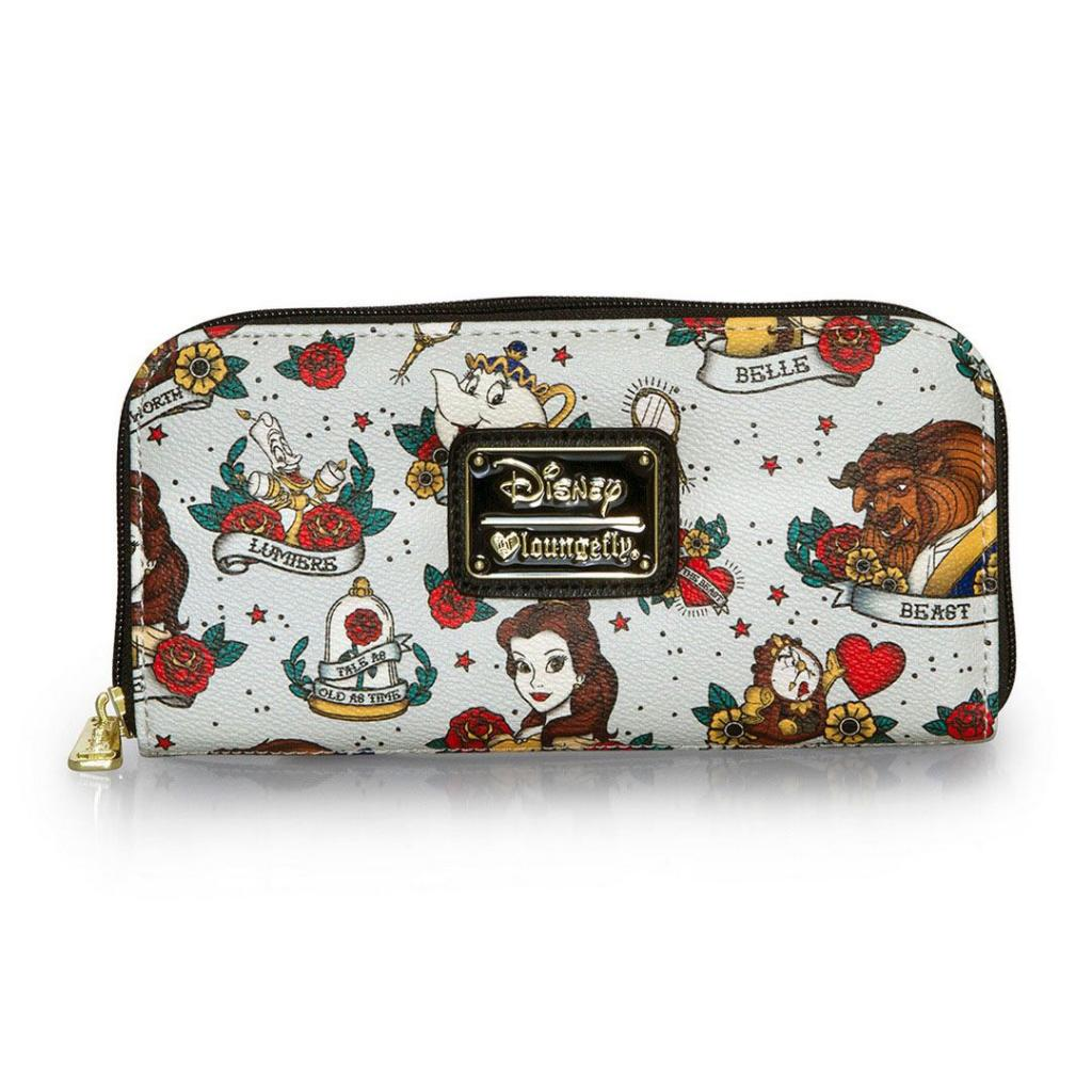 DISNEY - Belle Tatto AOP Zip Around Wallet 'LoungeFly'