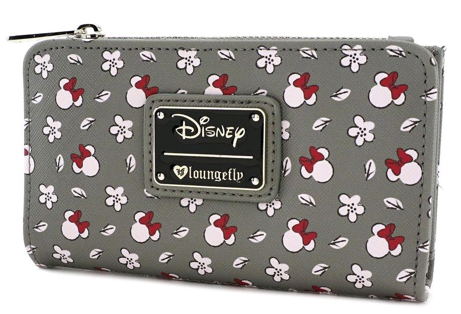 DISNEY - Minnie SM Gray AOP Top Zip Wallet 'LoungeFly'