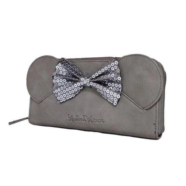 DISNEY - Minnie Mouse Sequin Grey Zip Around Purse 'LoungeFly'