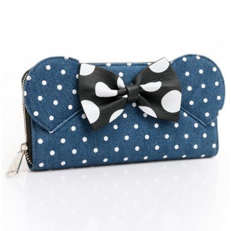 DISNEY - Portefeuille Minnie Mouse Denim Zip Around 'LoungeFly'