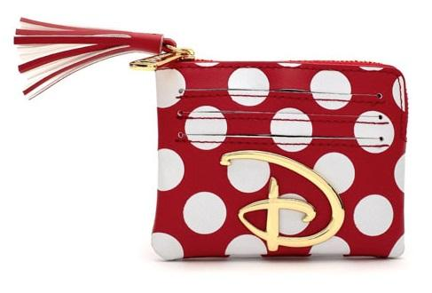 DISNEY - Red/White Polka Disney Logo - Porte-cartes 'LoungeFly'